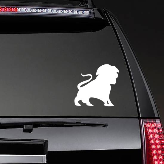 Lion Silhouette With Tail In The Air Sticker on a Rear Car Window example
