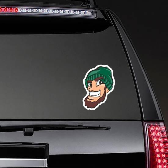 Lumberjack Mascot Sticker on a Rear Car Window example