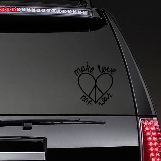 Make Love Not War Hippie Sticker on a Rear Car Window example