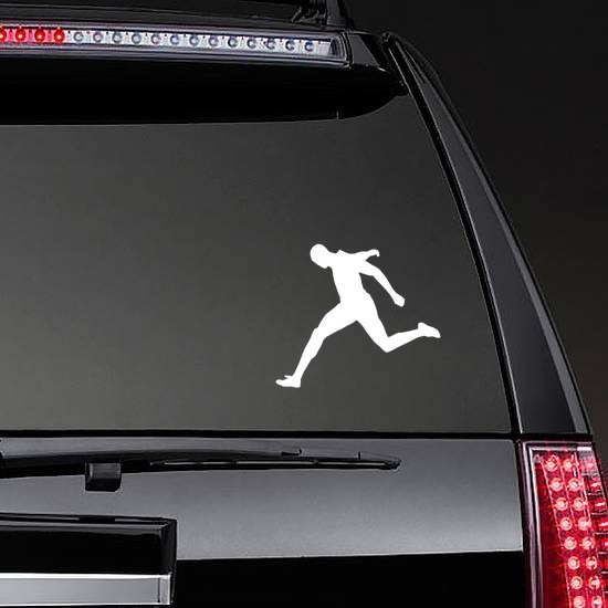 Man Sprinting to the Finish Line Sticker on a Rear Car Window example