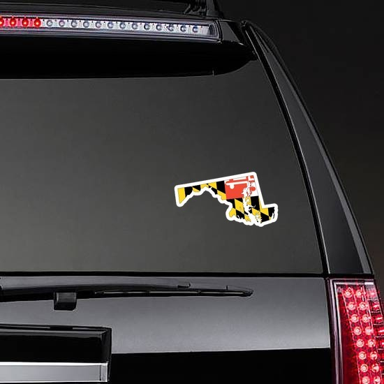 Maryland Flag State Sticker on a Rear Car Window example