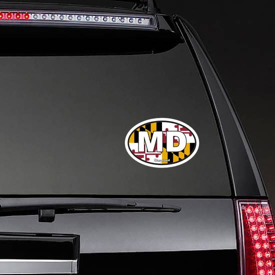 Maryland Md State Flag Oval Sticker on a Rear Car Window example