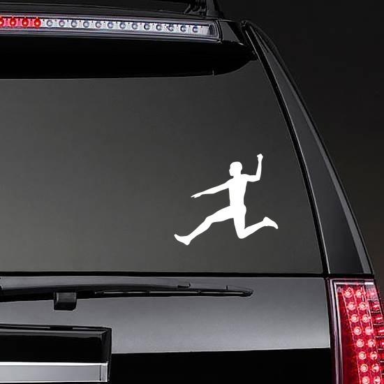 Men's Long Jump Sticker on a Rear Car Window example