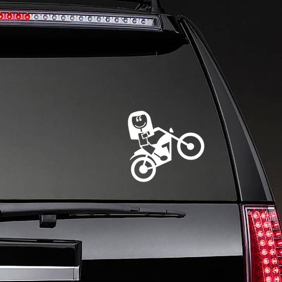 Motorcycle Girl Family Sticker on a Rear Car Window example