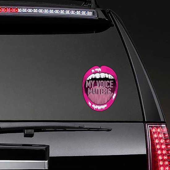 My Voice Matters Sticker on a Rear Car Window example