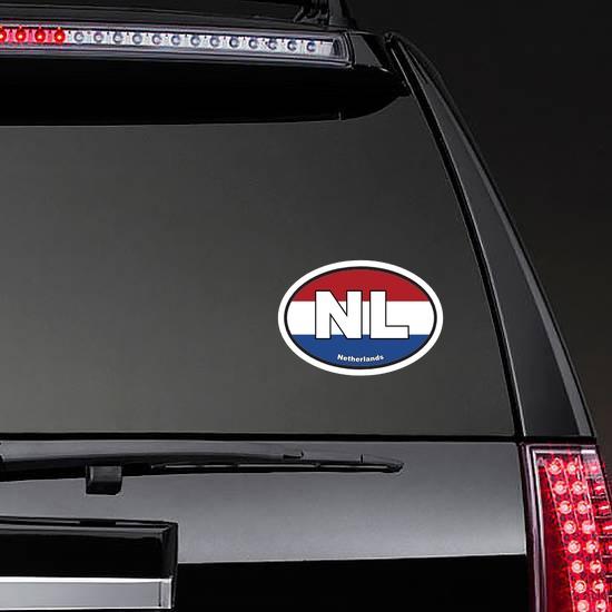 Netherlands Nl Flag Oval Sticker on a Rear Car Window example