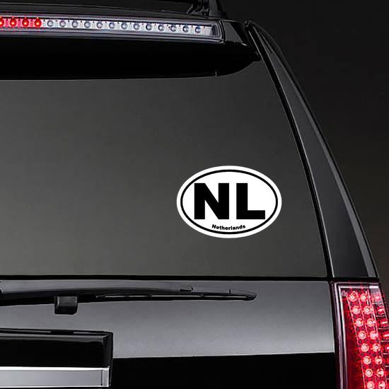 Netherlands Nl Oval Sticker on a Rear Car Window example