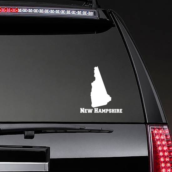 New Hampshire State Sticker on a Rear Car Window example