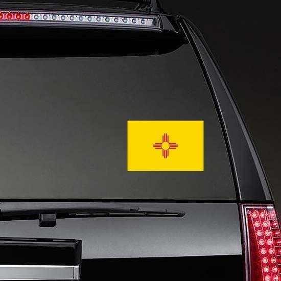 New Mexico Nm State Flag Sticker on a Rear Car Window example