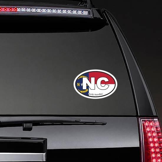 North Carolina Nc State Flag Oval Sticker on a Rear Car Window example