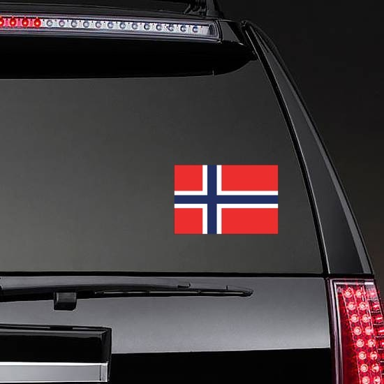 Norway Flag Sticker on a Rear Car Window example