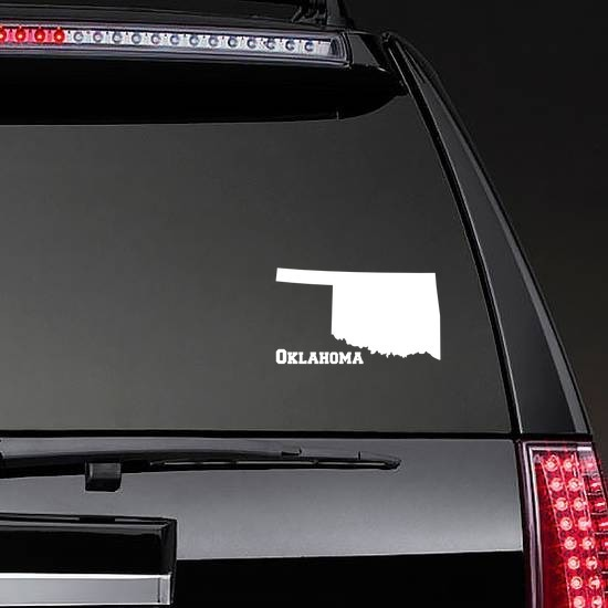 Oklahoma State Sticker on a Rear Car Window example
