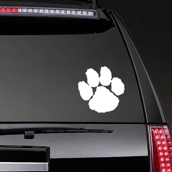 One Paw Print Sticker on a Rear Car Window example