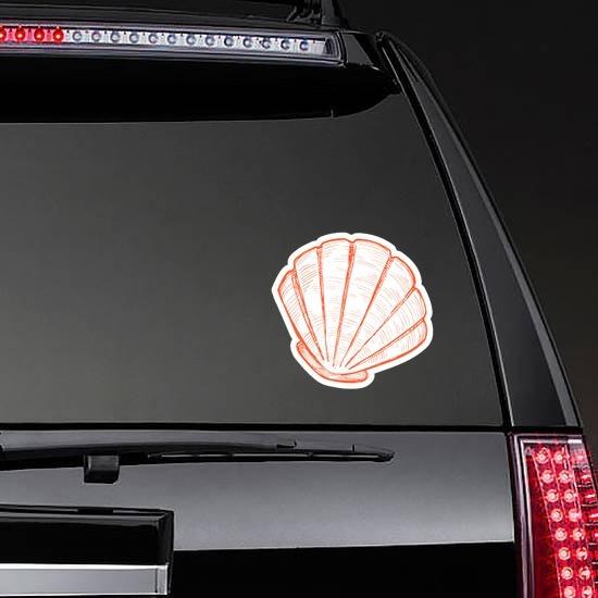Orange Hand Drawn Scallop Sticker on a Rear Car Window example