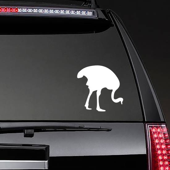 Ostrich Eating Sticker on a Rear Car Window example