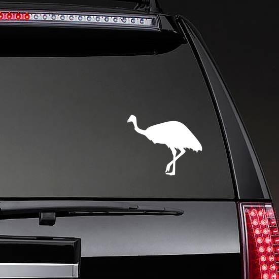Ostrich Walking Sticker on a Rear Car Window example