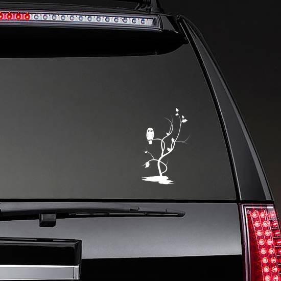 Owl On Tree Sticker on a Rear Car Window example