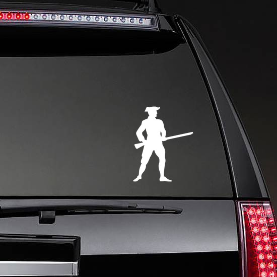 Patriot Soldier Sticker on a Rear Car Window example