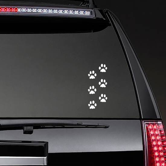 Paw Prints Sticker on a Rear Car Window example