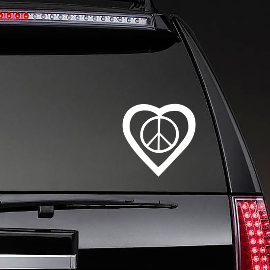 Peace Sign In A Heart Sticker on a Rear Car Window example