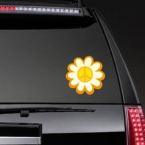 Peace Sign Sunflower Hippie Sticker on a Rear Car Window example