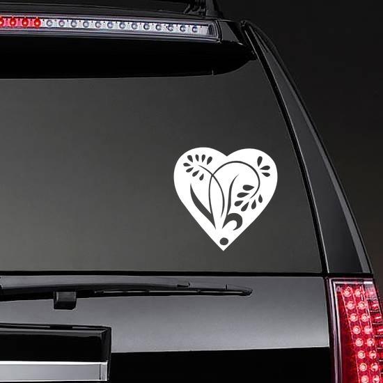 Pedaled Flower In A Heart Sticker on a Rear Car Window example