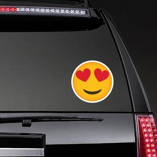 Phone Emoji Sticker Heart Eyes Happy on a Rear Car Window example