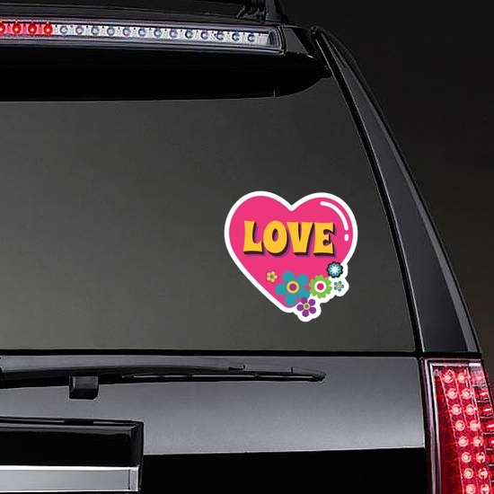 Pink Heart with Flowers Hippie Sticker on a Rear Car Window example
