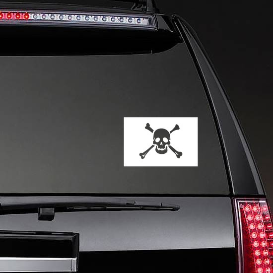 Classic Pirate Skull Flag Sticker on a Rear Car Window example