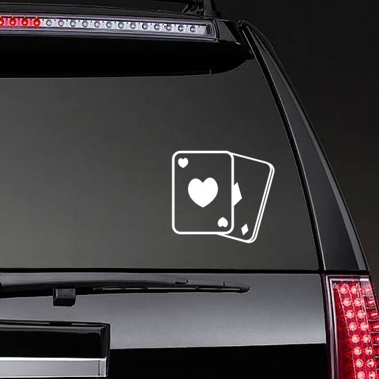 Playing Cards Hearts And Diamonds Sticker on a Rear Car Window example