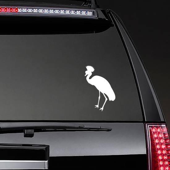 Pretty Crowned Crane Sticker on a Rear Car Window example