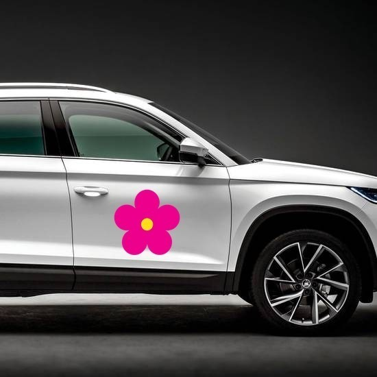 Printed Hot Pink Daisy Flower Magnet on a Car Side example