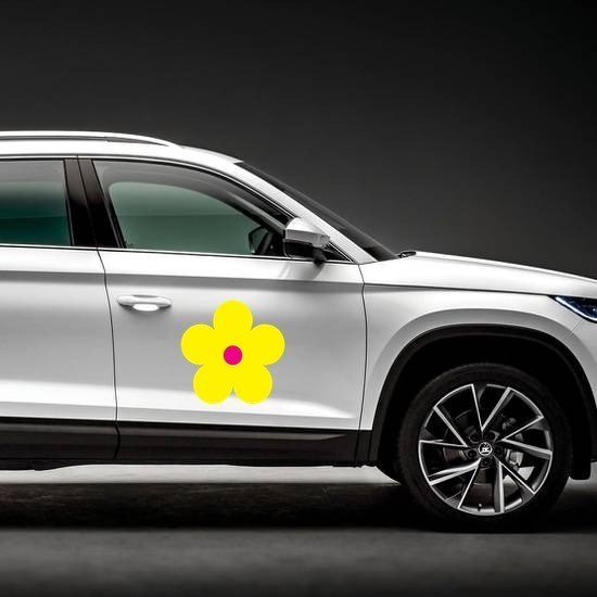 Printed Yellow Daisy Flower Magnet on a Car Side example