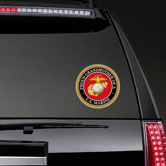 Proud US Marine Grandmother Sticker on a Rear Car Window example