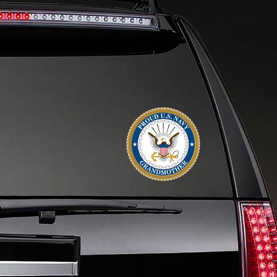 Proud US Navy Grandmother Sticker on a Rear Car Window example