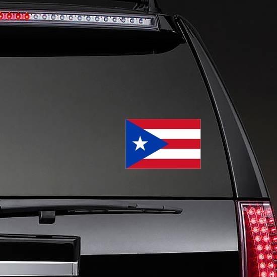 Puerto Rico Flag Sticker on a Rear Car Window example