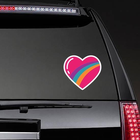 Rainbow Heart Hippie Sticker on a Rear Car Window example