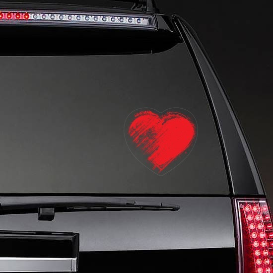Red Brush Heart Sticker on a Rear Car Window example