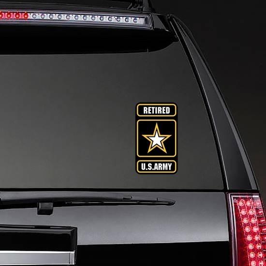 Retired U.S. Army Logo Sticker on a Rear Car Window example
