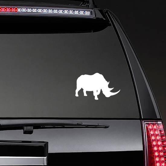Rhino Sticker on a Rear Car Window example