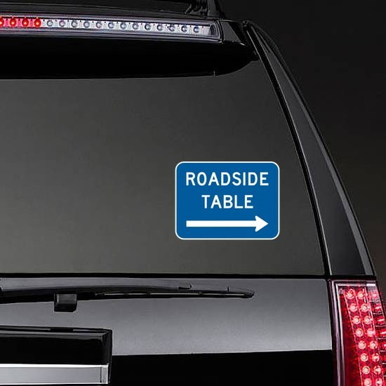 Roadside Table To Right Sticker on a Rear Car Window example