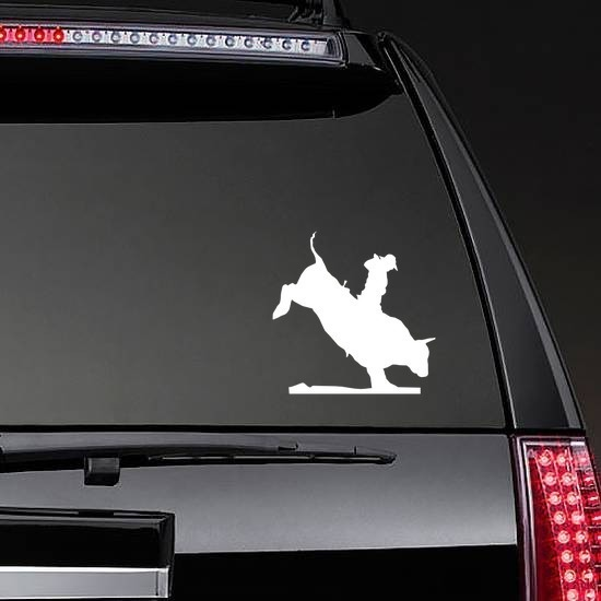 Rodeo Cowboy Bull Rider Sticker on a Rear Car Window example