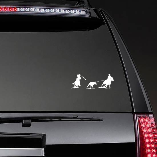 Rodeo Cowboys Team Rope Sticker on a Rear Car Window example