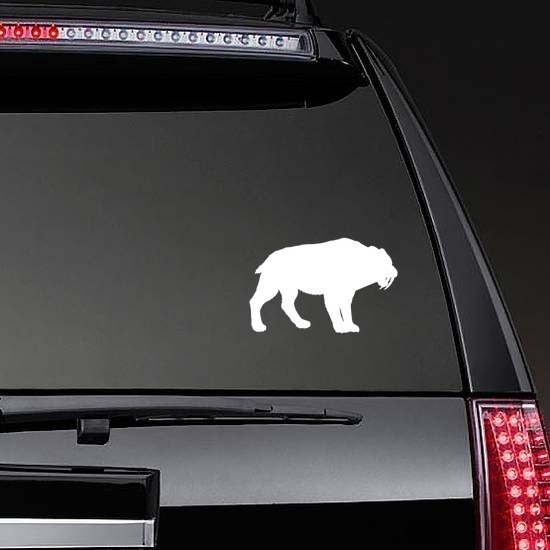 Saber Toothed Tiger Silhouette Sticker on a Rear Car Window example