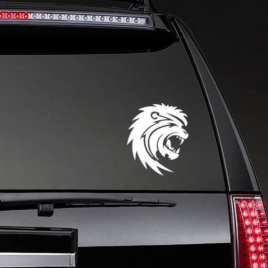 Scary Lion Sticker on a Rear Car Window example