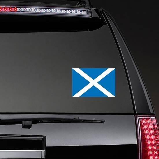 Scotland Flag Sticker on a Rear Car Window example