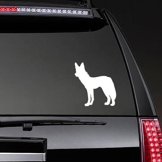 Scrawny Wolf Coyote Sticker on a Rear Car Window example