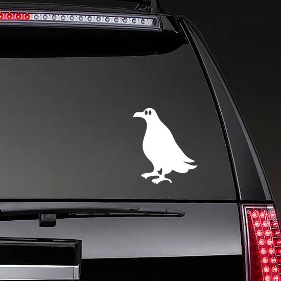 Seagull With Big Eyes Sticker on a Rear Car Window example
