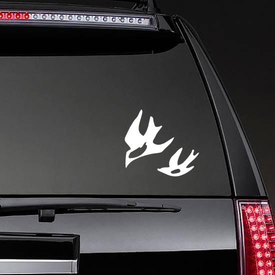 Seagulls Flying Sticker on a Rear Car Window example