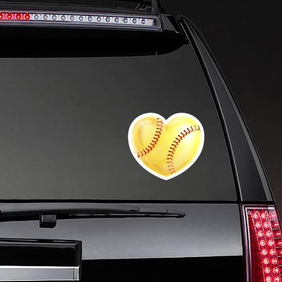 Shiny Yellow Heart Softball Sticker on a Rear Car Window example
